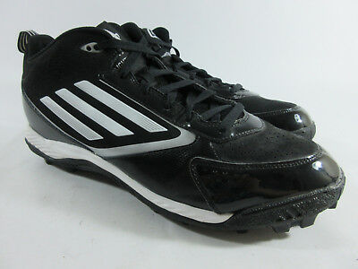 new style 1866c 5c1d5 Adidas Lightning Md Mid Molded Football Cleats BlackPlatinumWhite Mens  Size 14