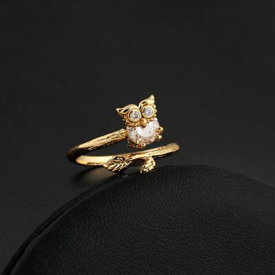 Cute Animal Owl Women Ring Zircon Wedding Open Bands Adjustable Finger NZ
