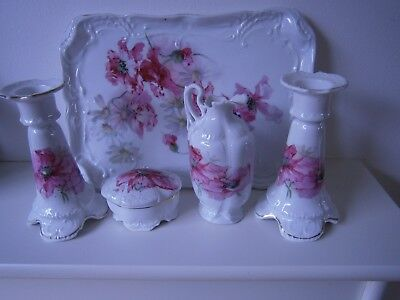 Edwardian Old Dressing Table Set Beautiful Pink Flowers Lovely Mothers Day Gift