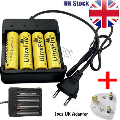 UK 4 x 18650 Li-ion Battery Charger Rechargeable for 3.7v Rechargeable Batteries