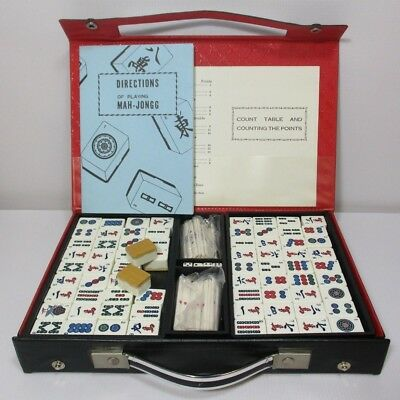Vintage Mah Jong Set, Bamboo Backed Tiles, Complete & Excellent Cond., Free Post