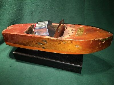 Jacrim Seaworthy wooden wind up toy boat Hull only, restoration project. pond