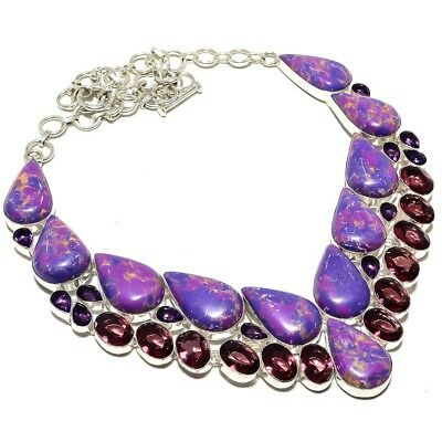 """Copper Purple Turquoise, Amethyst Gemstone 925 Sterling Silver Necklace 18"""""""