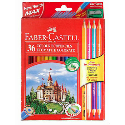 High Quality Faber Castell 36+ 3 Colour Pencils /Colori a matita + temperamatite