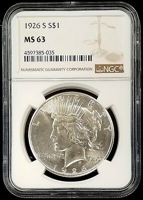 1926 S Silver Peace Dollar graded MS 63 by NGC! Bright surfaces!