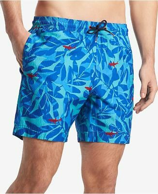 d235c6c998 $120 TOMMY HILFIGER Men's BLUE GOBLIN PRINT SWIM TRUNKS ELASTIC SHORTS SIZE  XL