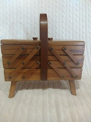 Vintage Accordion Fold Out 3 Tier Wooden Sewing Box  Dovetailed