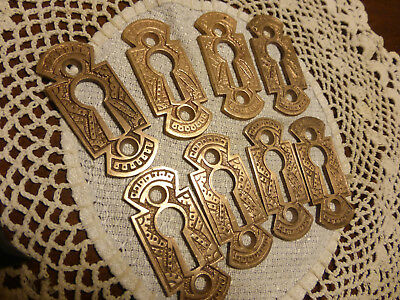 8 Antique Vintage Cast Brass/Bronze Keyhole Covers Eastlake 516 Z