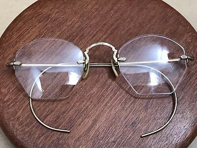 Vintage Antique Wire Rim Eye Glasses B & L Bausch & Lomb 10k Gold Filled