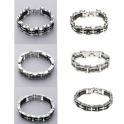 Stainless Steel Silicone Bracelets Men Wristband Punk Style Men Bangles