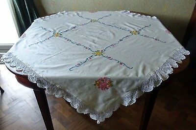 Vintage Cross Stitch Embroidery Tablecloth With Crochet Edge - 1m 35cm Square