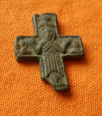 A400. Byzantine style bronze reliquary  cross. Half