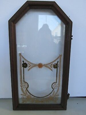 Antique Original Gingerbread Clock Door with Glass Parts