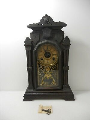 E. Ingraham Antique Solid Wood Carved Neoclassical Mantel Clock Late 19th C
