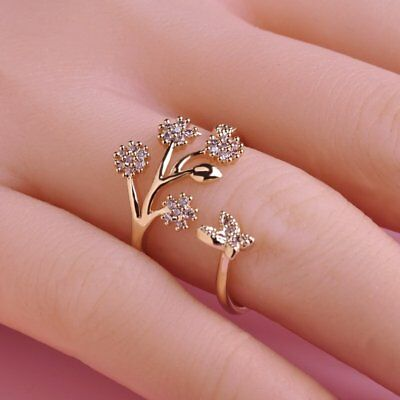 Fashionable Design Women Adjustable Size Butterfly Tree Branch Finger Ring NZ