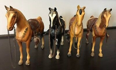 Lot Of 4 Vintage Hard Plastic Horses With Removable Sadles