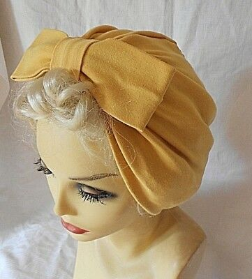 VINTAGE INSPIRED 1940's 50's STYLE  MUSTARD YELLOW TURBAN HAT WW2 LINDYHOP SWING
