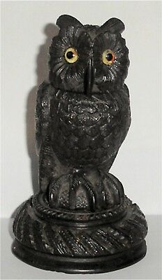 Rare 19th Cent Bog Oak Figure of Seated Glass Eyed Owl Needle Case and Stand