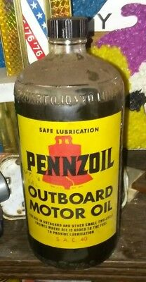 Vintage Glass Bottle of Pennzoil Outboard Motor Oil 1950s 60s Super Condition