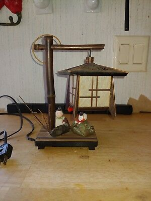 Vintage Japanese Bamboo Lantern by Miyabi Andon , With two Hina Dolls
