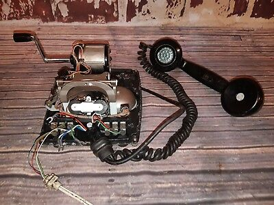 Antique Vintage Old Bakelite 1930's Winding Telephone Spares Repairs Project