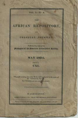 1834 'COLONIZATION' of FREED NEGRO SLAVES in AFRICA