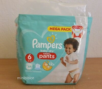 Mega Pack 64 Couches Culottes Pampers baby-dry Nappy Pants 15+ Kg Taille 6