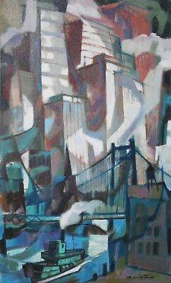 MAURICE FREED- PA/IL Modernist-Original Signed Oil-Abstract Cityscape