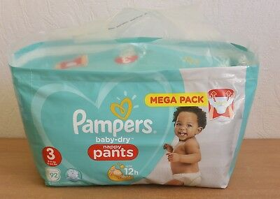 Mega Pack 92 Couches Culottes Pampers baby-dry Nappy Pants 6-11 Kg Taille 3