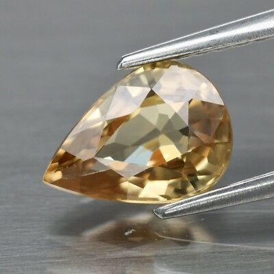VS 1.51ct 8.2x6mm Pear Natural Unheated Yellow Zircon