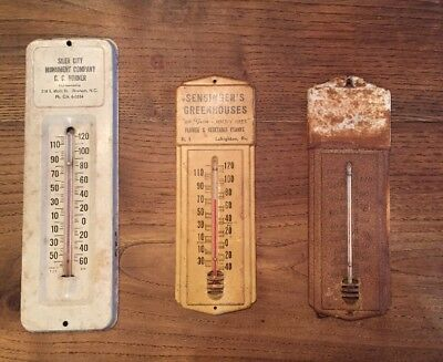 "Vintage Advertising Metal Thermometer Signs- LOT of ""3"""