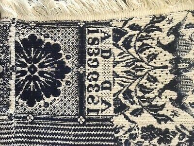 1839 blue and white jacquard coverlet