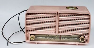 Vintage RARE RCA Victor 9xl1f PINK AM Tube Smokers Radio With LIGHTER