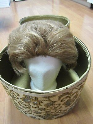 Vintage Tapestry Wig Box with French Wig