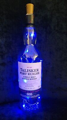 Talisker Port Ruighe empty whisky bottle .. with added Blue micro LEDs