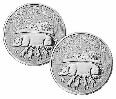 Lot of 2 - 2019 1oz Silver Great Britain Year of the Pig BU