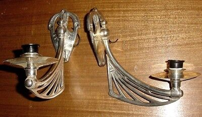 Art Nouveau Silverplated Bronze Open Work Wings Shaped Pair Wall Sconces Wired