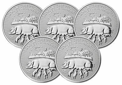 Lot of 5 - 2019 1oz Silver Great Britain Year of the Pig BU