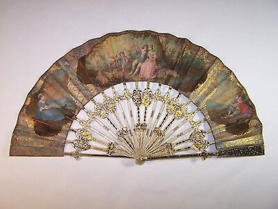 Rare antique 18thC french carved hand painted fan / cut steel guardsticks