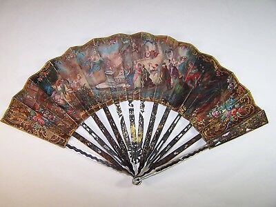 Museal antique 18thC french carved hand painted fan / Watteau weddings painting