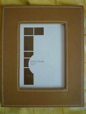 """Leather Look Photo Frame 5""""x7"""" Tan colour soft back with stand and boxed. Unused"""