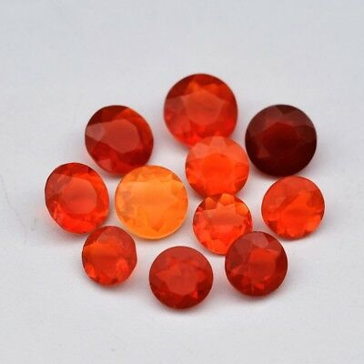 11pcs Lot 1.91ct t.w 3.5-4.5mm Round Natural Orange & Reddish Orange Fire Opal
