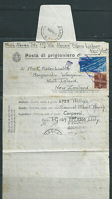Italien - italy : 1943 nice airmail cover from war prisonner to New Zealand !