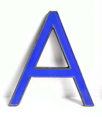 "Vintage Antique Bronze Metal & Blue Enamel Shop Display Sign Letter - A - 8"" (2)"