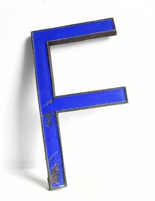 Vintage Antique Bronze Metal & Blue Enamel Shop Display Sign Letter - F - 8""