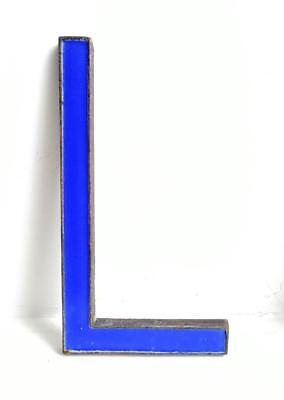 "Vintage Antique Bronze Metal & Blue Enamel Shop Display Sign Letter - L - 8"" (2)"