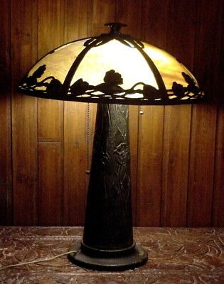 ART DECO IRON METAL HANDEL ERA TABLE DESK LAMP w/ GLASS SHADE TWO LIGHTS WIRED