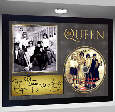 Freddie Mercury QUEEN SIGNED FRAMED PHOTO AND I Want to Break Free CD Disc