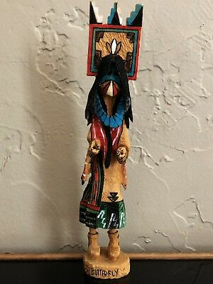 Native American Hopi Tribe Kachina Doll Wood Carving Larry Wally Butterfly