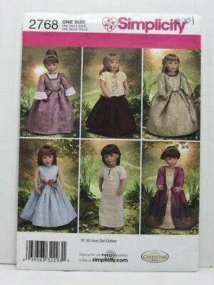 Simplicity 2768 Sewing Pattern 18'' Doll Clothes Dress Nightgown Top Skirt Uncut